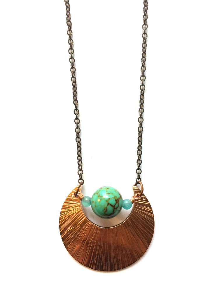 Light Blue Moon Necklace, Copper and Magnesite, Bohemian - Dancing Moon