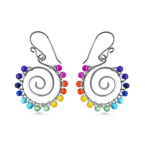 Chakra earrings, silver spiral, yoga jewelry - Dancing Moon