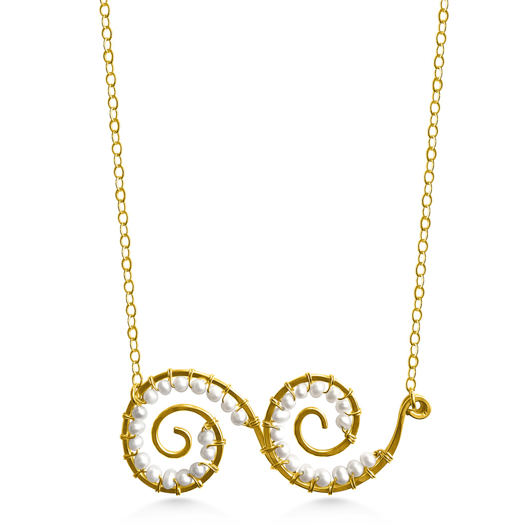 Double Spiral Pearl Necklace - Dancing Moon