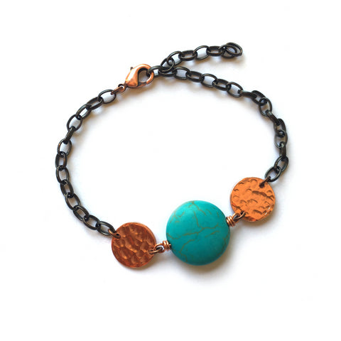 Copper and Magnesite, Full Blue Moon Bracelet - Dancing Moon