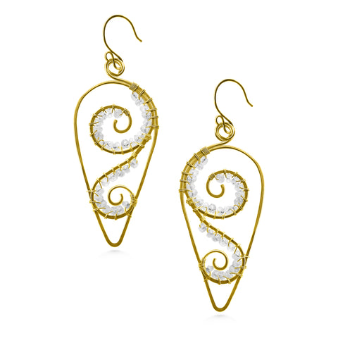 Leaf Spiral Earrings, Moonstone, Gold Fill, Elegant Bridal - Dancing Moon