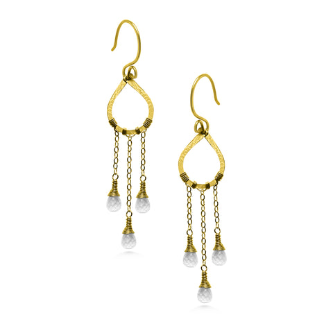 Raindrop Earrings, Moonstone drops, gold fill wire, bohemian wedding - Dancing Moon
