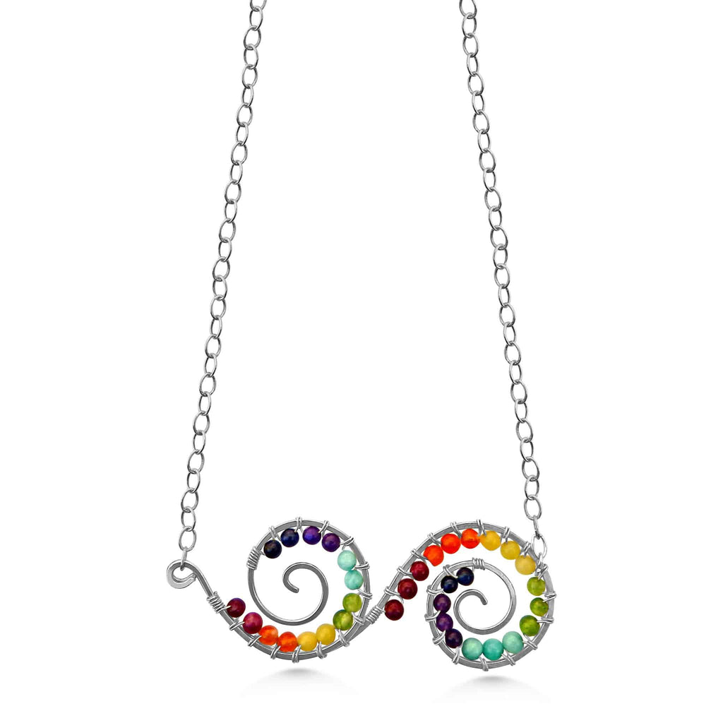 Chakra double spiral handmade gemstone and sterling silver necklace