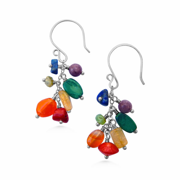 Chakra Cascading Earrings, Sterling Silver and Gemstones - Dancing Moon