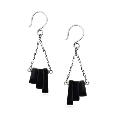 Black Onyx Earrings, Oxidized Sterling Silver, Bohemian - Dancing Moon