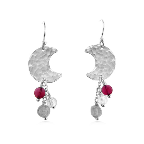 Gemstone Crescent Moon Earrings with garnet, quartz crystal, and labradorite - Dancing Moon