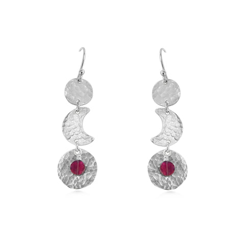 Moon Phase Earrings,  Garnet and Sterling Silver, blood moon - Dancing Moon