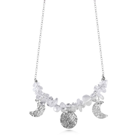 Moon Phase Necklace with Quartz Crystal & Sterling Silver - Dancing Moon