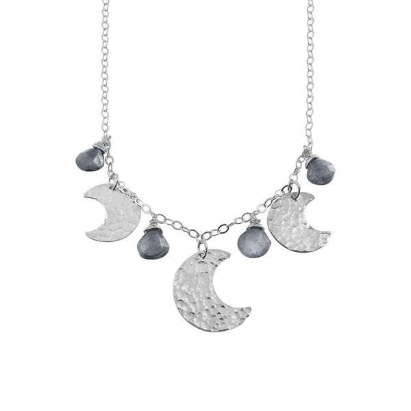 Silver Moon necklace with Labradorite gemstones - Dancing Moon