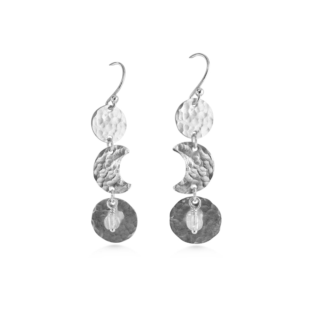 Moon Phase Earrings, Quartz Crystal and Sterling Silver - Dancing Moon