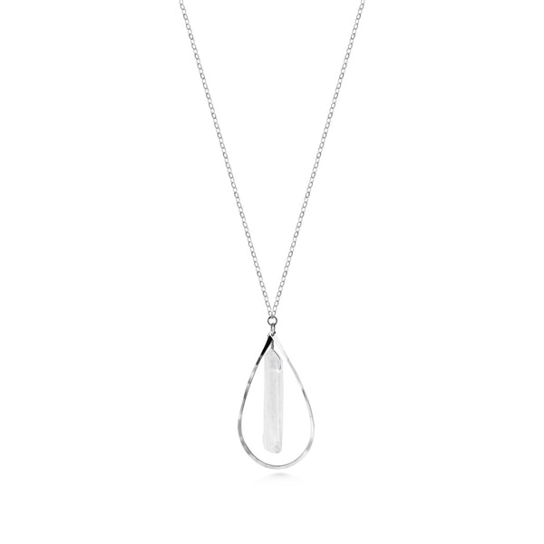 Long Raindrop Crystal Necklace - Dancing Moon