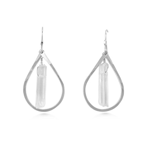 Raindrop, Crystal Point Earrings - Dancing Moon