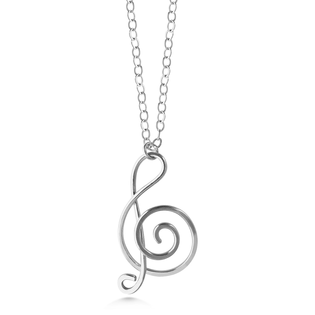 Music note necklace, sterling silver treble clef - Dancing Moon