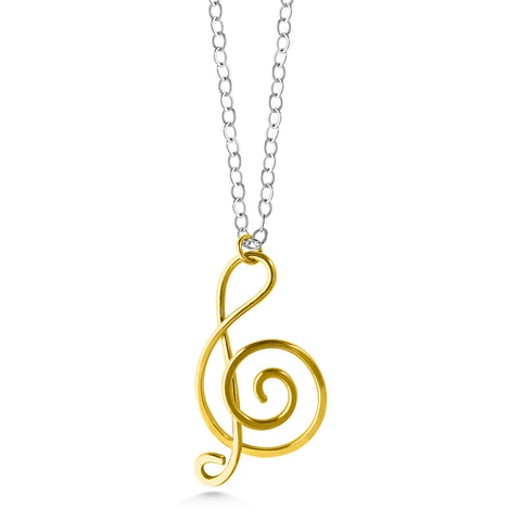 Music note necklace, gold fill treble clef, sterling silver chain, mixed metals - Dancing Moon
