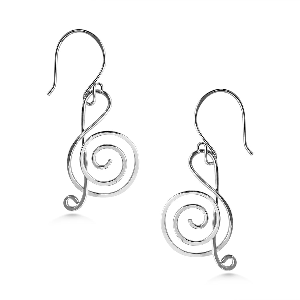 Treble Clef Earrings, Sterling Silver, Handmade, Music Note Earrings