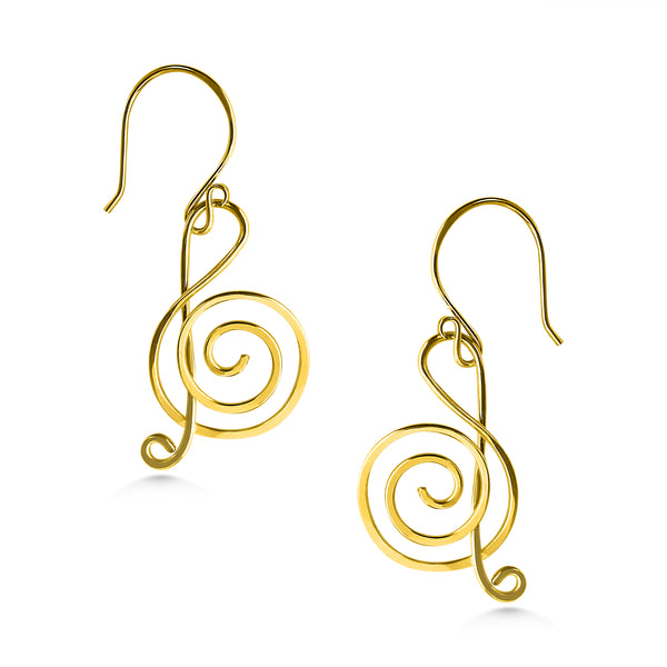 Treble Clef Earrings, mixed metal, handmade, music note earrings, gold and silver - Dancing Moon