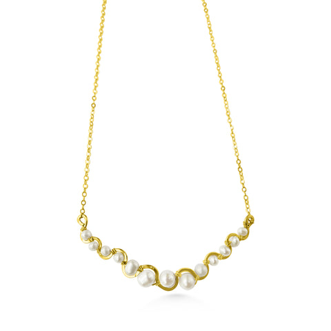 Pearl and gold fill river necklace - Dancing Moon