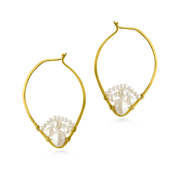 Pearl  hoop earrings, gold fill, pointed hoops - Dancing Moon