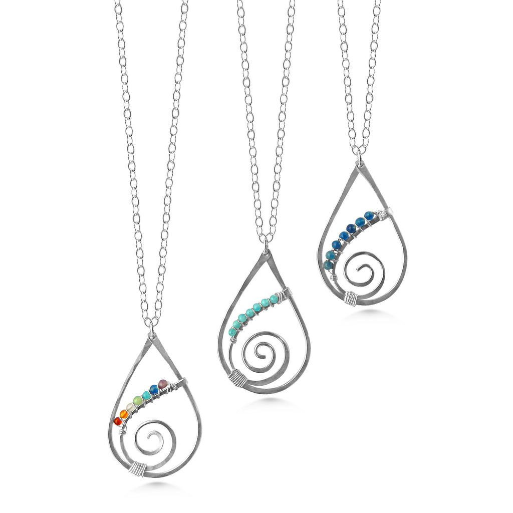 Chakra Raindrop Spiral Pendant, Sterling Silver with Tiny Gemstones
