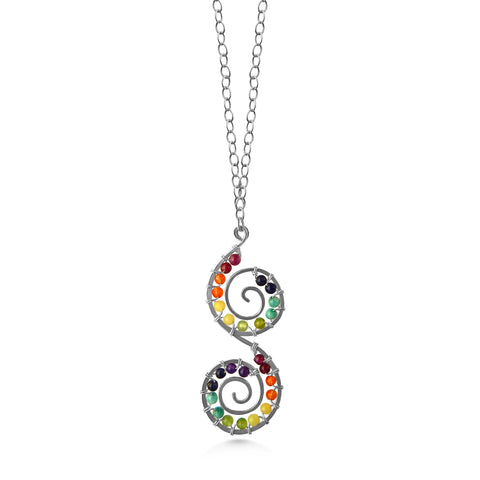 Chakra double spiral necklace, long handmade necklace - Dancing Moon