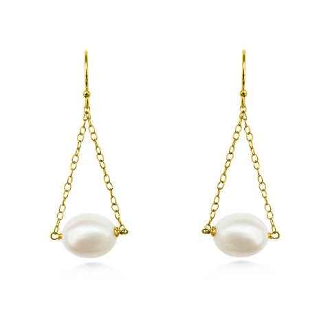 Pearl and Chain, Drop Earrings - Dancing Moon