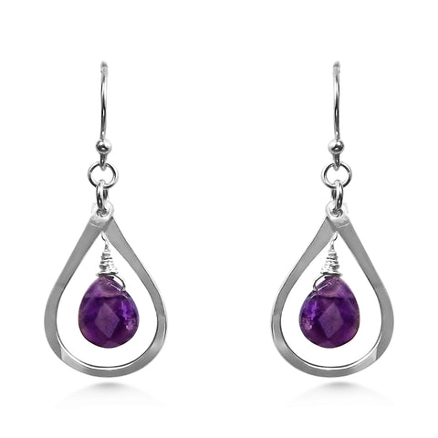 Birthstone earrings, Amethyst and Silver, tiny raindrops - Dancing Moon