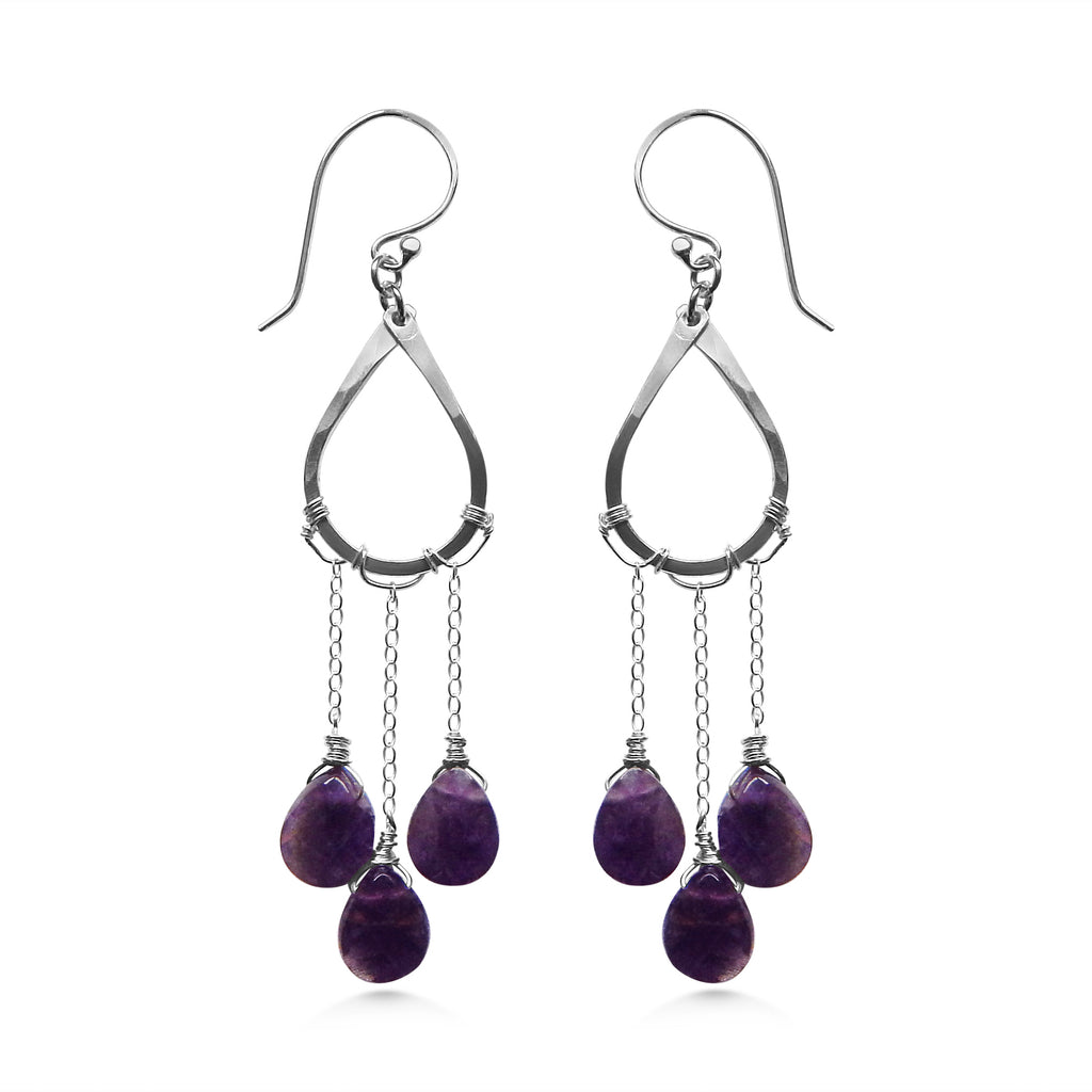 Raindrop earrings, amethyst and silver