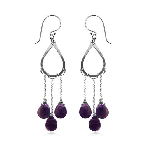 Raindrop earrings, amethyst and silver - Dancing Moon