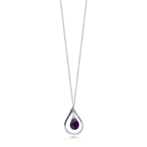 Birthstone Necklace, Amethyst and Silver, Raindrop necklace