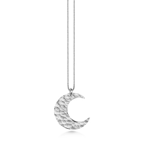 Crescent Moon, medium size, hammered sterling silver, moon jewelry - Dancing Moon