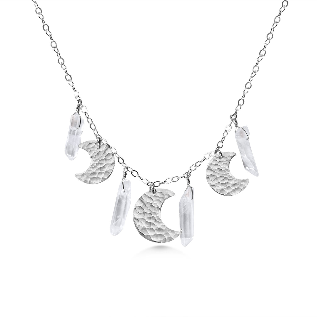 Silver Moon Necklace, Crystal Quartz Points