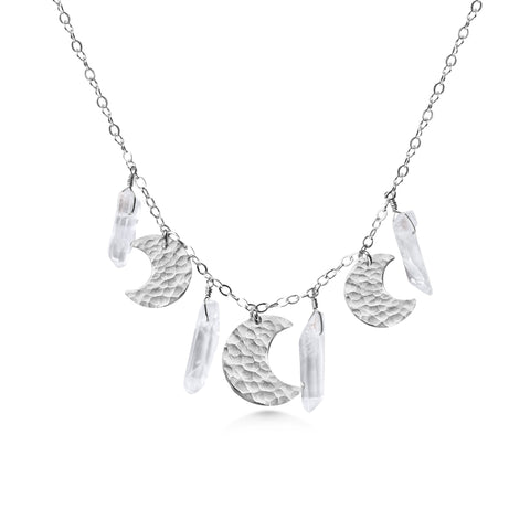 Silver Moon Necklace, Crystal Quartz Points - Dancing Moon