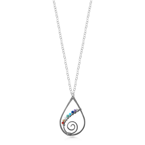 Chakra Raindrop Spiral Pendant, Sterling Silver with Tiny Gemstones - Dancing Moon