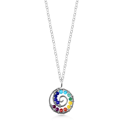 Chakra Spiral Pendant, rainbow gemstones, sterling silver, yoga jewelry - Dancing Moon