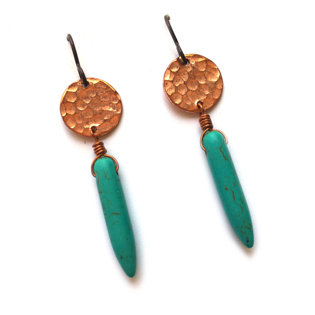 Full Moon Pointed Drop earrings, copper - Dancing Moon