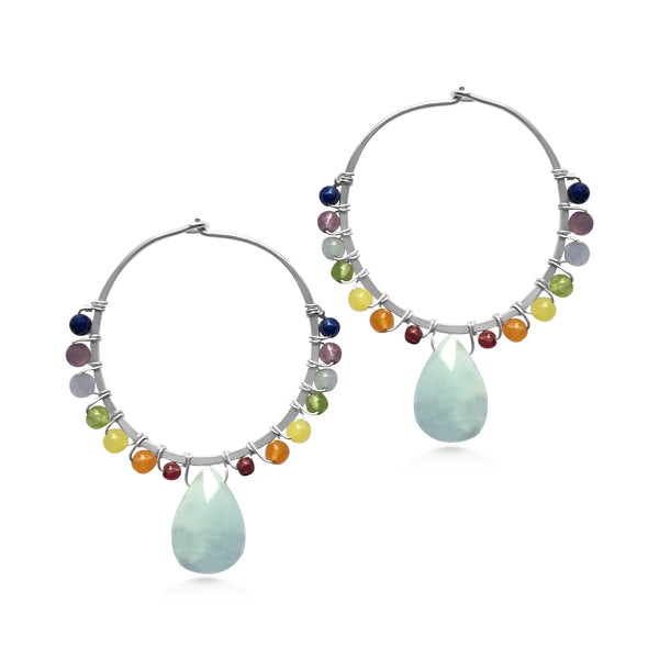 Chakra Hoop Earrings - Dancing Moon