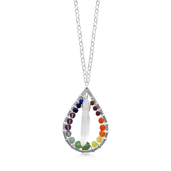Chakra and Quartz Crystal Raindrop Necklace - Dancing Moon