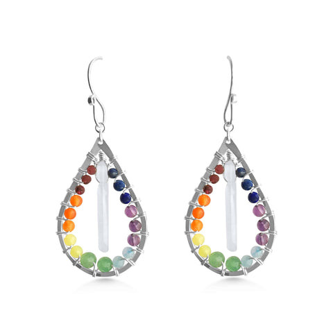 Chakra Raindrop and Crystal Quartz earrings - Dancing Moon