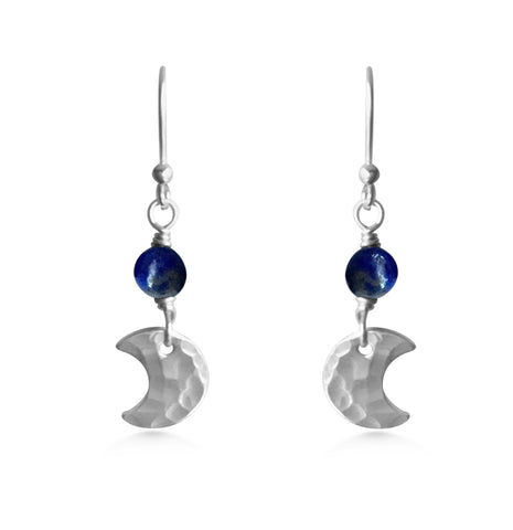 Tiny Crescent Gemstone Earrings - Dancing Moon