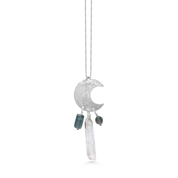 Medium Crescent Moon Chimes Necklace, Crystal and Labradorite - Dancing Moon