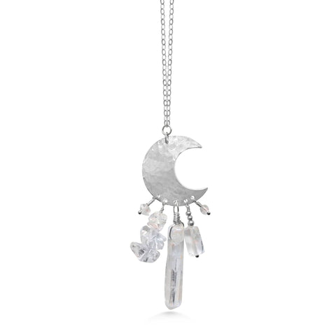 Crystal Necklace, Moon Dream Catcher Necklace - Dancing Moon