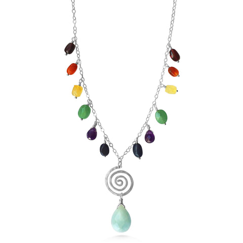 Chakra Necklace, cascading gemstones, spiral yoga jewelry