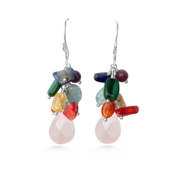Chakra Drop Earrings, silver and gemstones, yoga jewelry, ayurveda - Dancing Moon