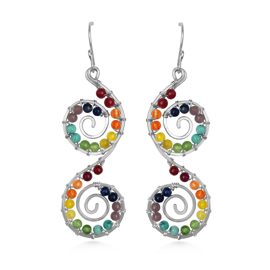 Chakra, Double Spiral Earrings, Statement Earrings, Yoga Jewelry - Dancing Moon