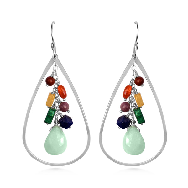 Chakra Raindrop earrings, Cascading gemstones, yoga jewelry - Dancing Moon