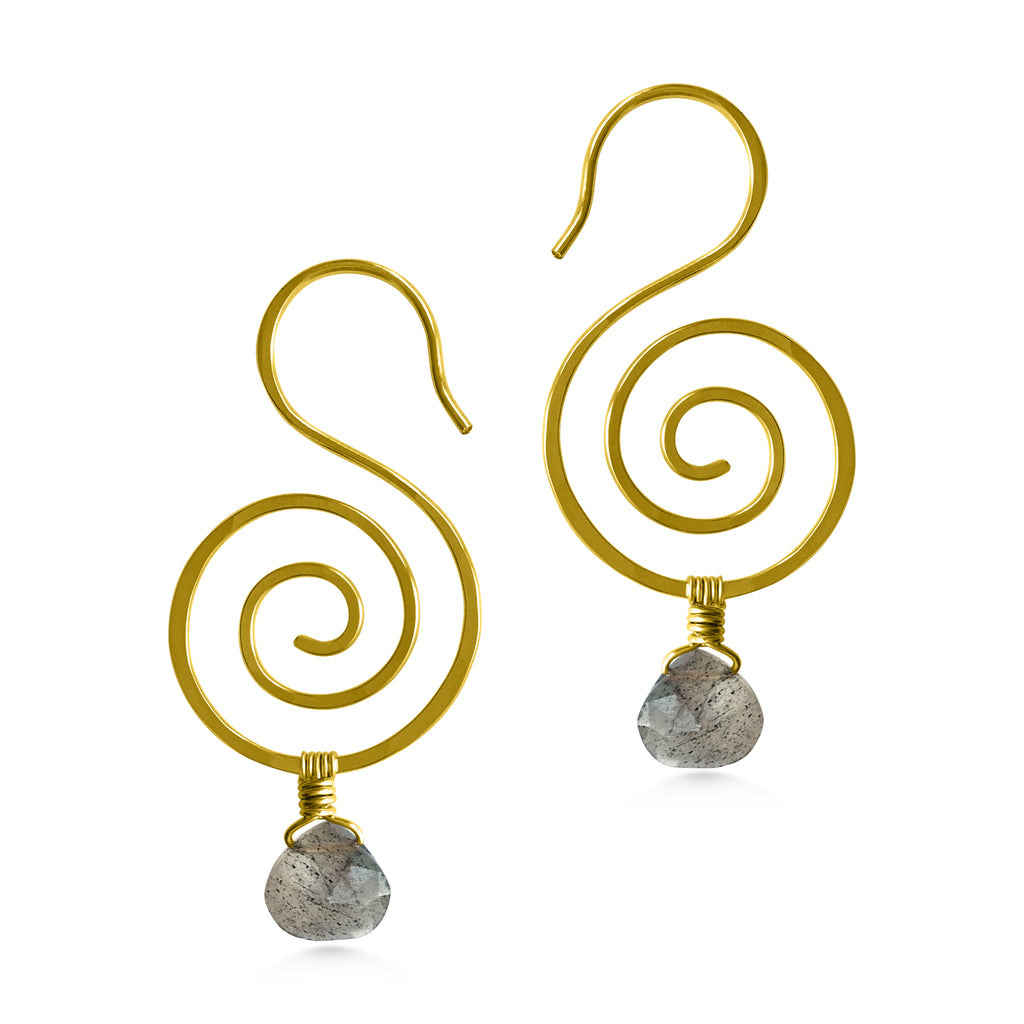 Seahorse Spiral Gemstone Earrings - Dancing Moon