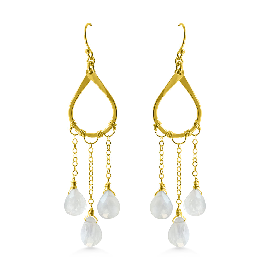 Raindrops falling gold earrings