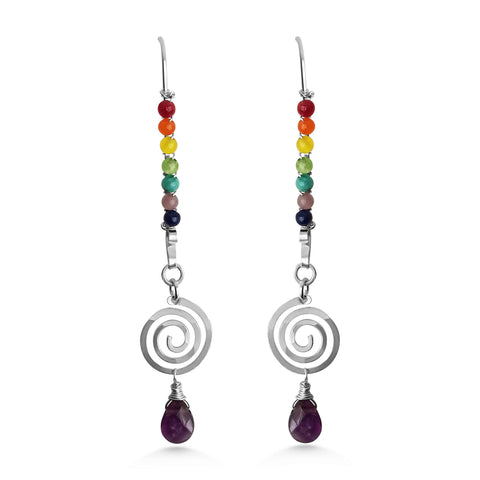 Chakra long spiral drop earrings with Amethyst - Dancing Moon