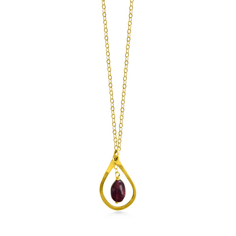 January Birthstone, Garnet necklace - Dancing Moon