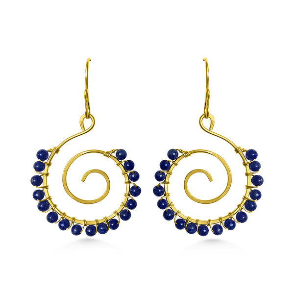 Spiral Earrings, Lapis Lazuli, Yoga Jewelry - Dancing Moon